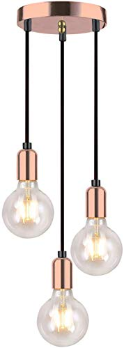 Home-Neat Lámpara de colgante vintage Retro, 3 x E27 Lámpara de techo con cable 120cm