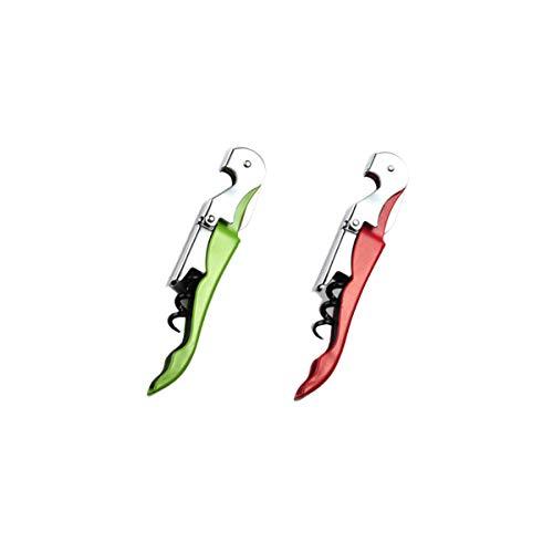 Sacacorchos plegable con cuchillo automático, abridor de botellas profesional para cerveza de vino (2 unidades), color aleatorio