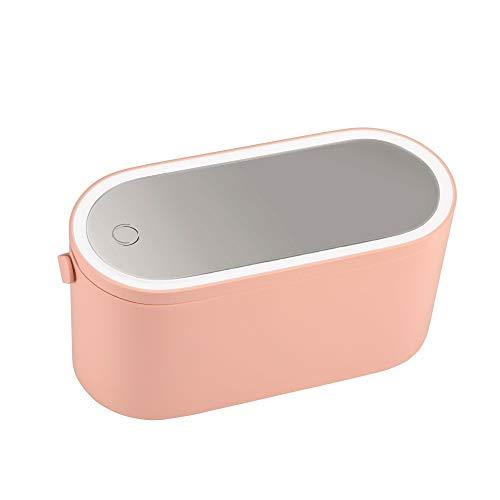 Pauleen 48076 Shine Inner Blush Schminkspiegel mit Licht dimmbar beleuchtete Schminkbox mit LED Beleuchtung Beauty Case Reise Akku/USB Rosa matt