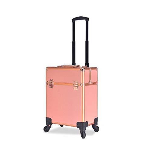 KUYUC Maleta de Maquillaje, Aluminio Maletín de Maquillaje con Ruedas, Profesional Travel Peluquería Maquilladores Esteticistas Beauty Case (Color : A)