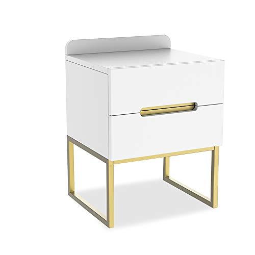 ZZBIQS - Comodino in legno bianco, con 2 cassetti, comodino, comodino con gambe in metallo, per soggiorno, camera da letto, caffè (bianco e oro)