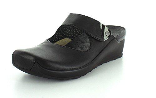 Wolky Damen Pantoletten 2576200-up-black-velvet-lea schwarz 163530