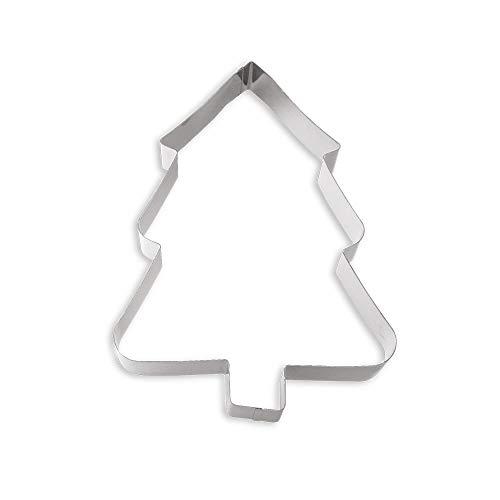 Decora Sagoma Abete di Natale, Acciaio Inossidabile, Argento, 28cm