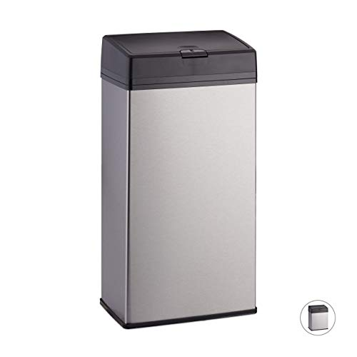 Relaxdays Cubo de basura rectangular, Baño & Cocina, Acero inoxidable, 6 L