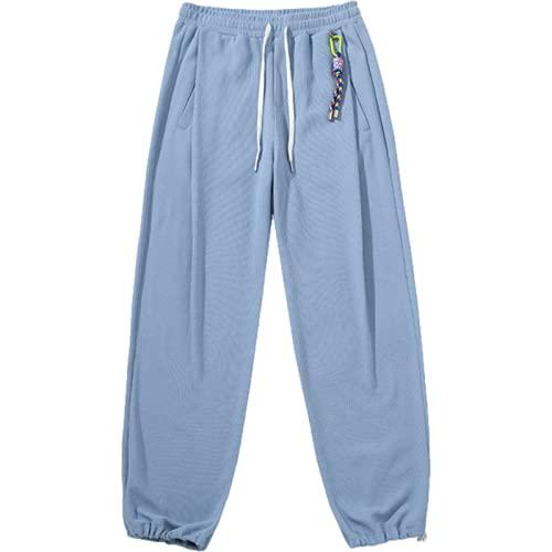 Pantalones Casuales para Hombres Primavera y otoño Color sólido Todo a Juego con Bolsillos y Pantalones Deportivos Finos con cordón para jóvenes XL