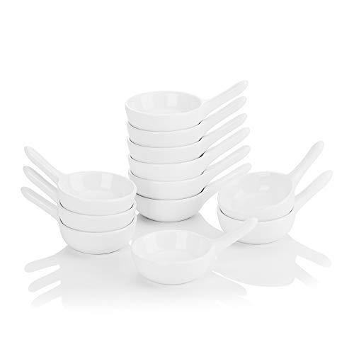 MALACASA Serie Ramekin.dish Mini Cuencos Cucharas 12 Piezas 9.5 cm Vajilla de Porcelana Cunecos de Salsa/Aperitivo/Postre