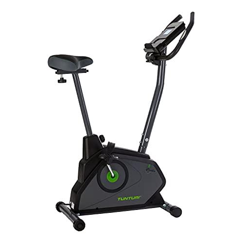 Tunturi Cardio Fit E30 Ergometer Heimtrainer Fahrradtrainer/Fitnessfahrrad/Fahrradergometer/Hometrainer mit Handpulssensoren + Tablethalterung - Magnetbremssystem und LCD-Bildschirmanzeige