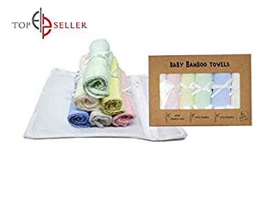 Worlds Best Baby Bamboo Washcloths Towels & Laundry Bag Set - 2 Layers of Ultra Luxury & Soft Absorbent Bamboo Towel - Bath & Face Towel - Natural Reusable Baby Wipes for Sensitive Skin (Multi)