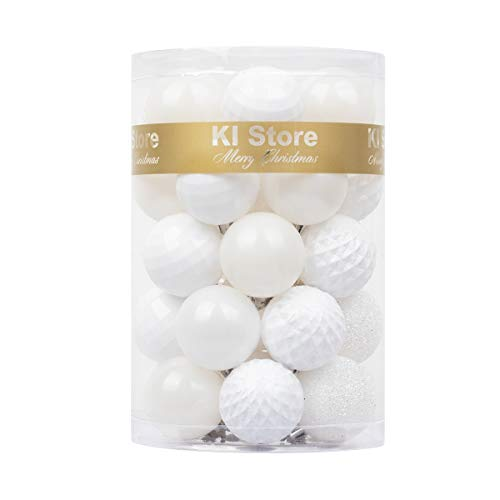 KI Store 34ct Christmas Ball Ornaments White Shatterproof Christmas Decorations Tree Balls Small for Holiday Wedding Party Decoration, Tree Ornaments Hooks Included 1.57-Inch 40mm