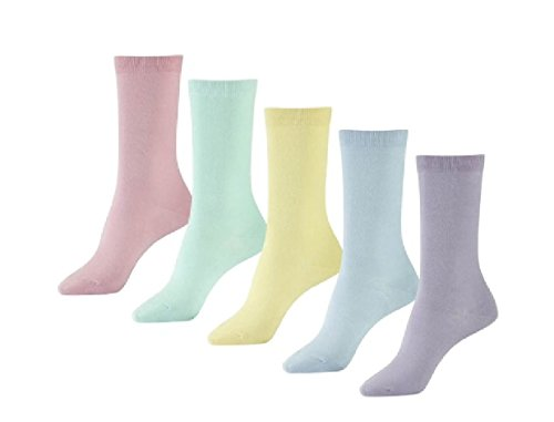 6 Pairs Women's Pastel Plain Cotton Rich Non Elastic Diabetic Socks
