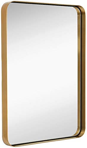 Hamilton Hills Contemporary Brushed Metal Wall Mirror | Glass Panel Gold Framed Rounded Corner Deep Set Design | Mirrored Rectangle Hangs Horizontal or Vertical (22' x 30')