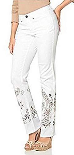 Boysens Hose mit Stickerei Damen Langgröße s - Weiß Gr. 92