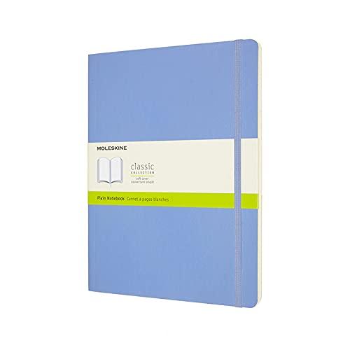 Moleskine - Cuaderno Clásico con Hojas en Blanco, Tapa Blanda y Cierre con Goma Elástica, Tamaño XL 19 x 25 cm, Color Azul Hortensia, 192 páginas
