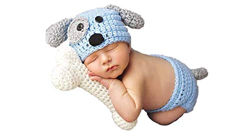 Matissa Baby Kleinkind Neugeborenen Hand gestrickt häkeln Strickmütze Hut Kostüm Baby Fotografie Requisiten Props (Welpe 2)