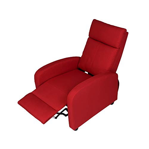 Adjustable Fabric Recliner Chair Ergonomic Recliner Sofa Easy Assemble Padded Seat Assemble w/Thick Cushion & Backrest Modern for Living Room Home Theater Bedroom Red