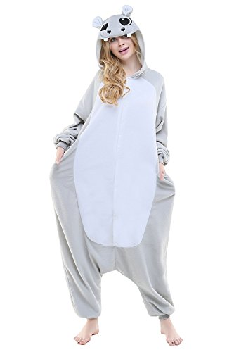 CANASOUR Polar Fleece Christmas Cosplay Unisex Anime Pajamas for Women Onesies (Small, Grey Hippo)