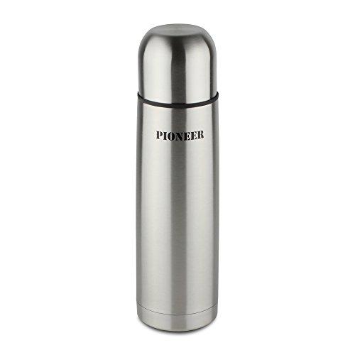 Pioneer Isolierflasche aus Hochwertigem Edelstahl mit Druckknopf & Trinkbecher 1,0 L Doppelwand-Vakuumkonstruktion 8 Stunden Heiß 24 Stunden Kühl 100% Auslaufsicher BPA Frei - Stahl
