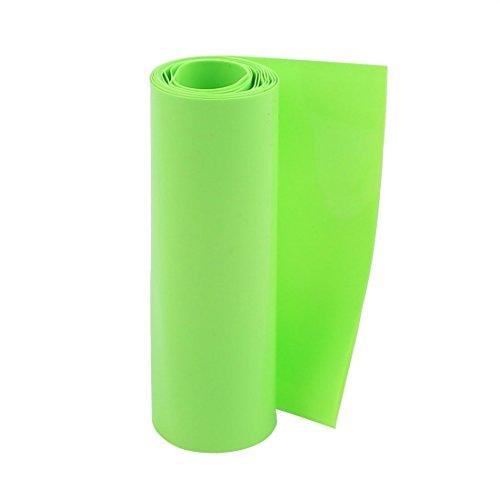 sourcingmap® 100mm flache Breite 5M Länge PVC Schrumpfschlauch Grün für 18650 Batterie de