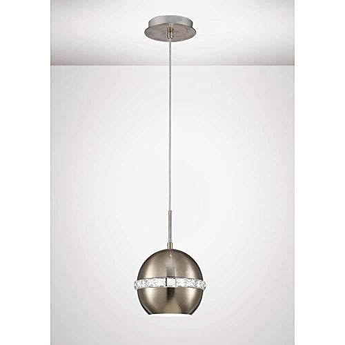 Inspired Diyas - Andrea - Lámpara colgante de techo tipo domo E27 níquel satinado, cristal