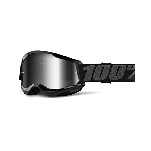 100% Strata 2 Motocross & Mountain Biking Goggles (Black - Mirror Silver Lens) MX and Mountain Bike Racing Protective Eyewear