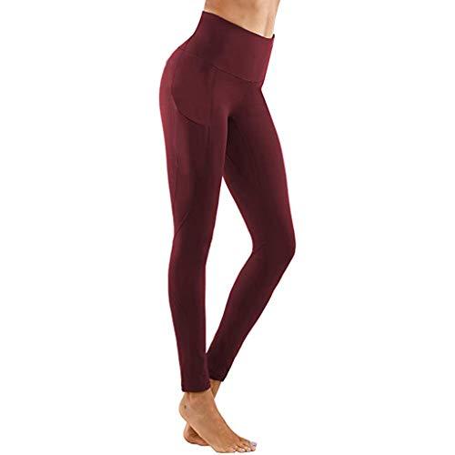 Weilov Femmes Serré Élastique À Séchage Rapide Solide Poche Pantalon De Yoga Fitness Fitness Yoga Pantalon Confortable Tenue décontractée Running Workout Sportswear