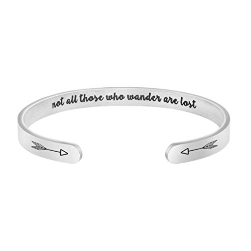 MEMGIFT Not All Those Who Wander are Lost Bracelet Boho Travel Gift for Women Personalized Inspirational Mantra Cuff Bangle Silver Stainless Steel Jewelry
