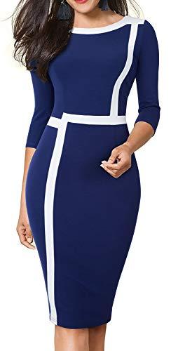 HOMEYEE Women's 3/4 Sleeve Colorblock Professional Business Church Dress B474