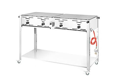 HENDI Grill-Master Quattro, Elektronisches Zündung, mit Gasschlauch und Druckminderer, nur für Verwendung im Aussenbereich, 22kW(Hs), 1270x525x(H)840mm, Edelstahl 18/0