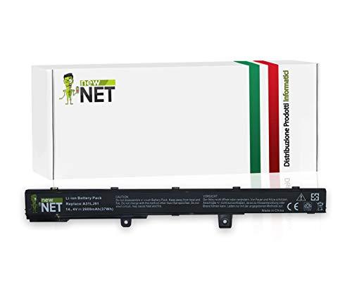 Batteria per Asus A41N1308   A31N1319   X45LI9C da 2600mAh (14,4/14,8V) compatibile con Pc Notebook R512 R512C R512CA X451 X451C X451CA X551 X551C X551CA X551MAV
