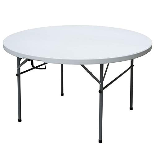 Plastic Development Group TGT8902 Outdoor/Indoor 4 Foot Diameter Fold In Half Plastic Resin Round Folding Banquet, Dining, Card Table, White