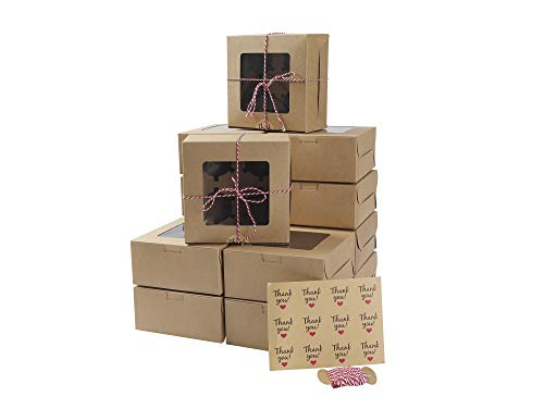 15 Packs Bakery Box Cupcake Boxes and Rope with Window and Inserts 4 Holders,6x6x3 Inch Cookie Boxes with Stickers for Pastries,Cookies,Small Cakes,Pie,Cupcakes (15 Pack, Kraft)