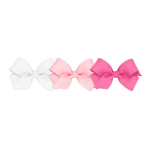 Wee Ones Girls' Mini Bow 3 pc Set Solid Grosgrain Variety Pack on a WeeStay Clip - White, Light Pink and Hot Pink