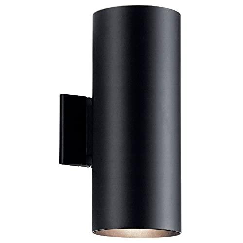 Kichler 9246BK Outdoor Cylinder Wall Mount Sconce UpLight Downlight, Black 2-Light (6