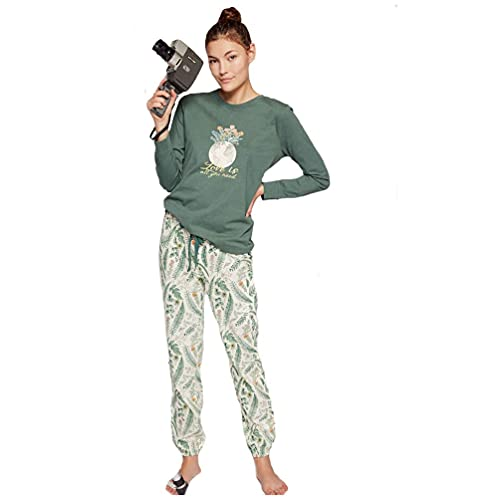 GISELA Pijama de Mujer de algodón Estampado 2/1820 - Verde, XL