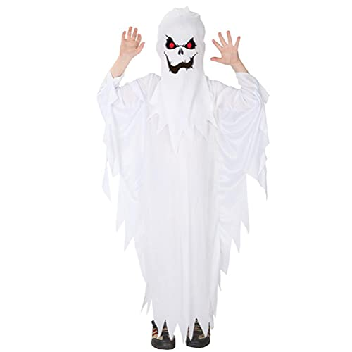 MAOBU Child Ghost Costume White Ghost Halloween Costumes Cosplay Costume Halloween and Carnival Fancy Dress Costume Best Gift for Kids