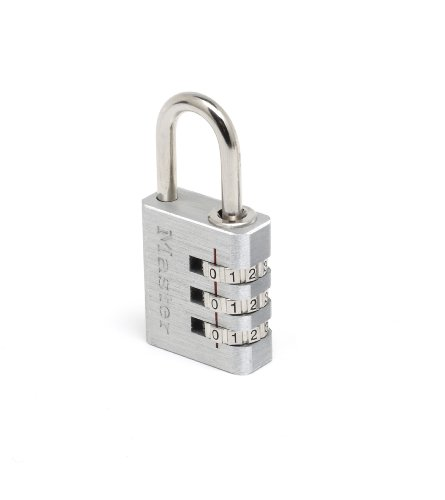 Master Lock 7620EURD Lucchetto, Combinazione Programmabile a 3 Cifre, Alluminio, 20 mm