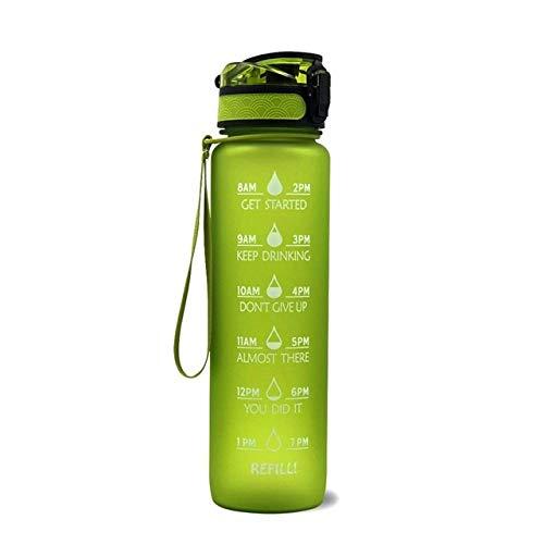 CUIDALAO- Botella de Agua para Deportes motivacionales con Marcador de Tiempo, Taza de Agua para Deportes ecológica de plástico Tritan de 1 l Gratis para niños, Gimnasio, Senderismo, Bicicleta, C