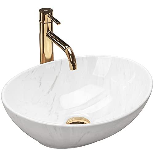 REA Terazzo - Lavabo (cerámica, ovalado, 34 x 40 cm, nanorrevestimiento)