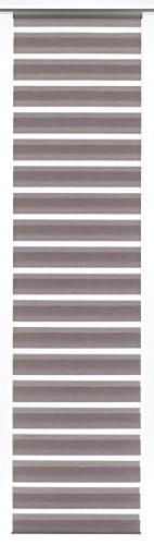 GARDINIA Flächenvorhang (1 Stück), Schiebegardine, Doppelrollo-Optik, Flächenvorhang Day + Night, Innovative + patentierte Technik, Melange Braun, 60 x 245 cm (BxH)