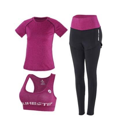 LUCHAO pantalones de cintura alta+abrigo con capucha+camiseta+sujetador+pantalones cortos para mujer yoga 5 piezas juego de ropa de deporte al aire libre de secado rápido fitness ropa deportiva 3XL (color: 19, tamaño: XXL)