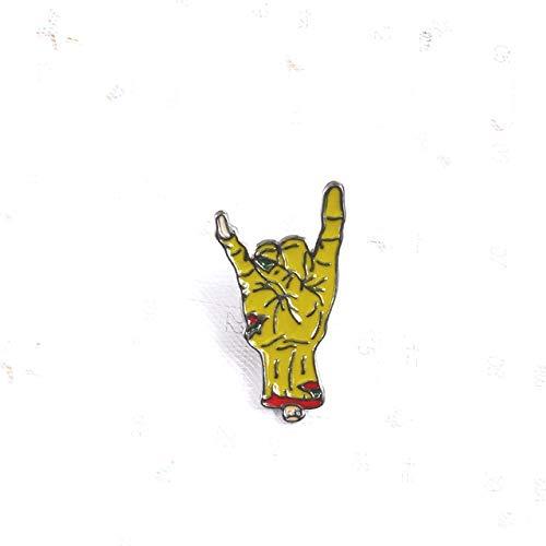 Broches de metal de mano punk Ok Yeah Good Rock Finger Señal Esmalte Pin Insignias Varios Gestos Joyas para Mujeres Hombres Niños Regalo-Rock