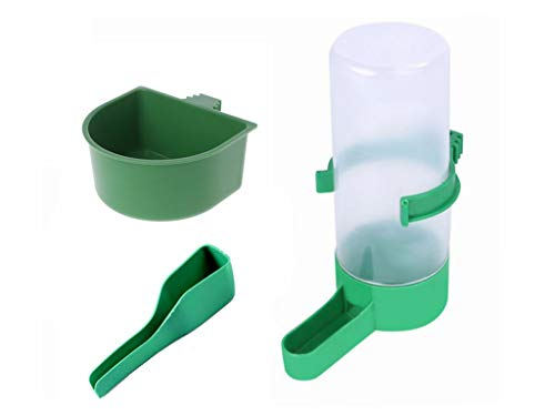 Small Bird Feeder Bird Water Dispenser for Cage, Plastic Bird Water Feeder and Food Feeding Cup Set for Parrots Parakeet Finch