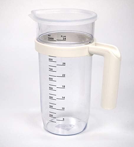 Vaso batidora 1 litro, Plástico, transparente, Jarra medidora traslucida, Vaso medidor, 205mm x 75 mm, Universal
