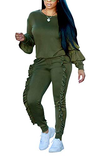 Women's Peplum Ruffle Frill Loungewear Pockets Tracksuit 2 Piece Set Green 3XL