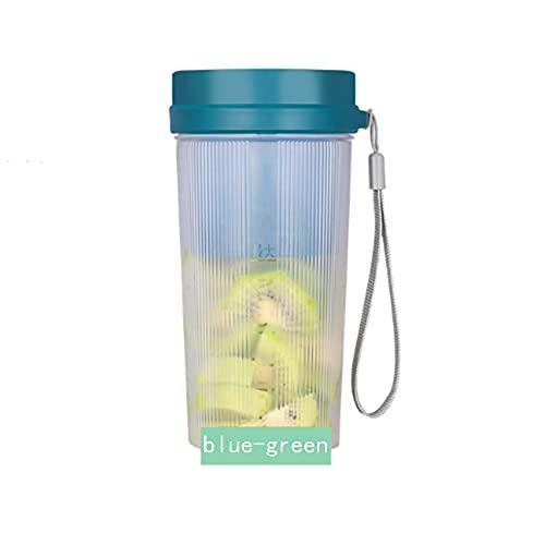 LANGTAO Licuadora Pequeña Licuadora Portátil Mini Exprimidor Taza Batidora Licuadora Personal con 6 Cuchillas Taza Exprimidora Portátil Inalámbrica Usado para Cocina Deportes Aire Libre,Blue Green