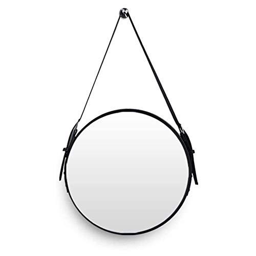 BAIHAO Espejo de baño Redondo con Correa Ajustable para Colgar en Piel sintética Espejos de tocador montados en la Pared Espejo cosmético para Colgar en la Pared