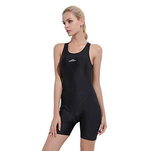 iYmitz Damen Badeanzug Push up Bademode Schwimmanzug Einteiliger Schnelltrocknend Effekten Rückenfrei Bandeau(Schwarz,M)