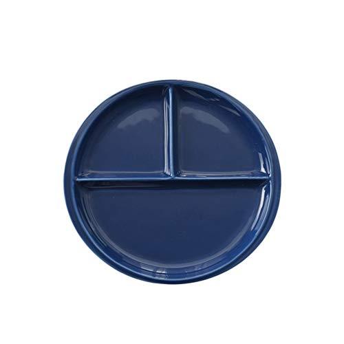 shiy 10 Pulgadas Bone China Plato Simple Plato de Porcelana Tres Compartimentos Desayuno Filete Redondo de cerámica Vajilla Decoración for el Hogar (Blanco) vajilla Porcelana (Color : Dark Blue)