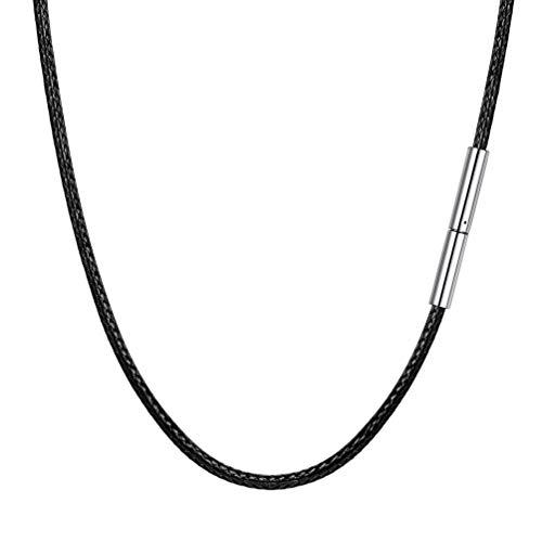 PROSTEEL Collar de Cuero Genuino para Hombre, Negro 2mm Cadena de Cuero con Cierre de Acero Inoxidable Collar Básico, 46cm