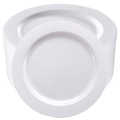50Pcs White Plastic Dinner Plates 10.25 Inch, Premium Disposable Plates, Safe and Reusable, Great for Party or Wedding